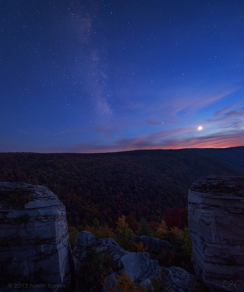 The milky way and venus take the sky over Lindy Point, West Virginia.