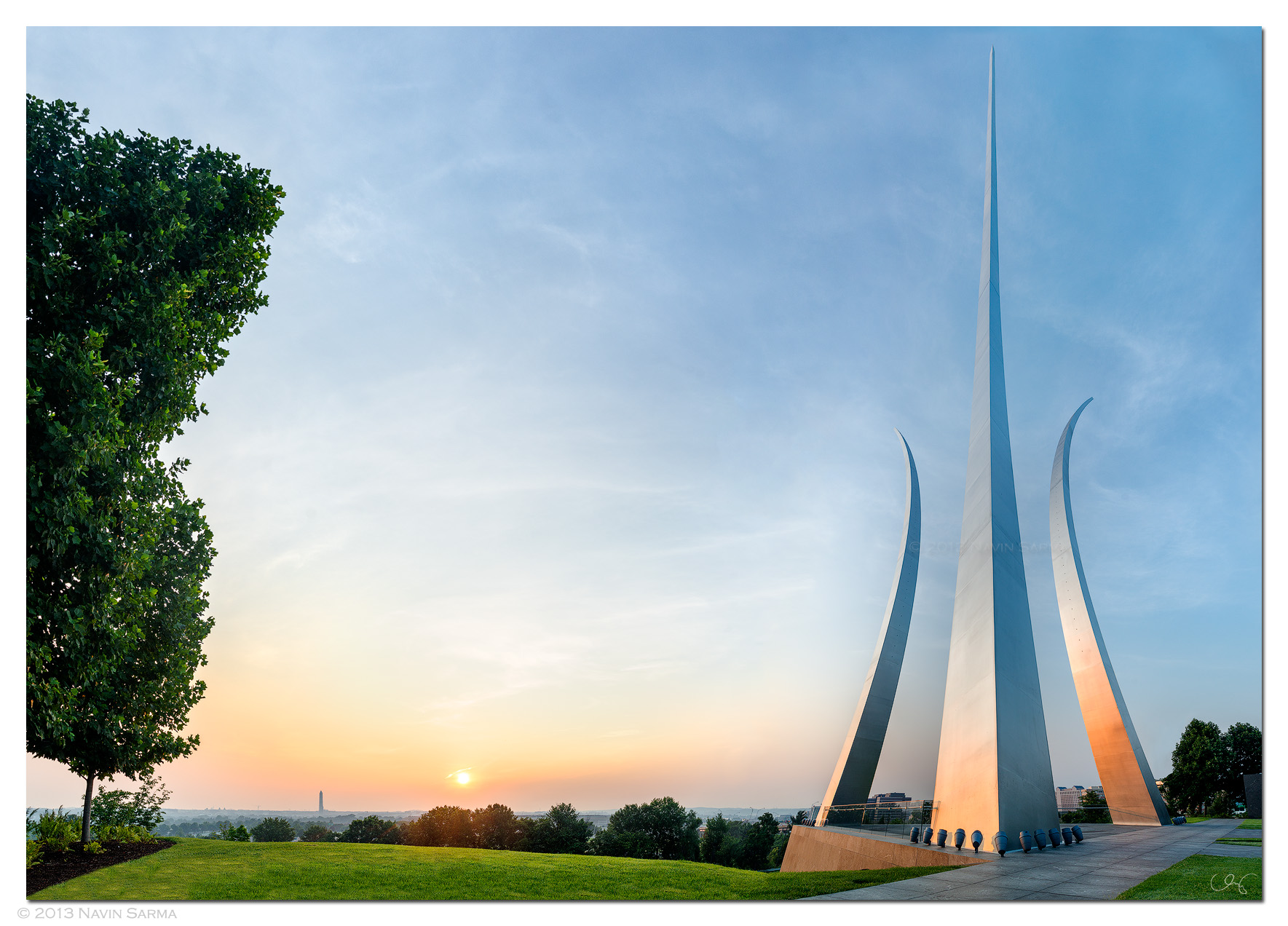 A full view of the Air Force Memorial at Sunrise