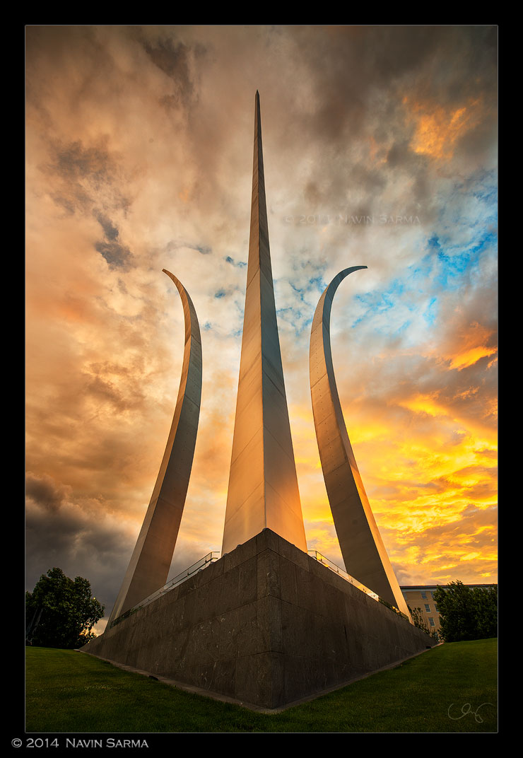 A colorful sunset after a powerful storm at the Air Force Memorial.