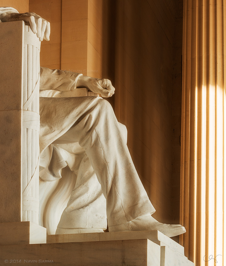 Sunlight shines on the architecture of the Lincoln Memorials