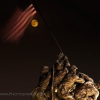 Harvest Moon over the Iwo Jima Memorial