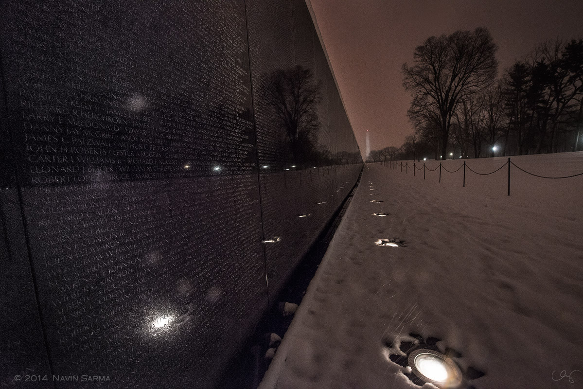 Snow and mist at early night at the Vietnam Memorial.