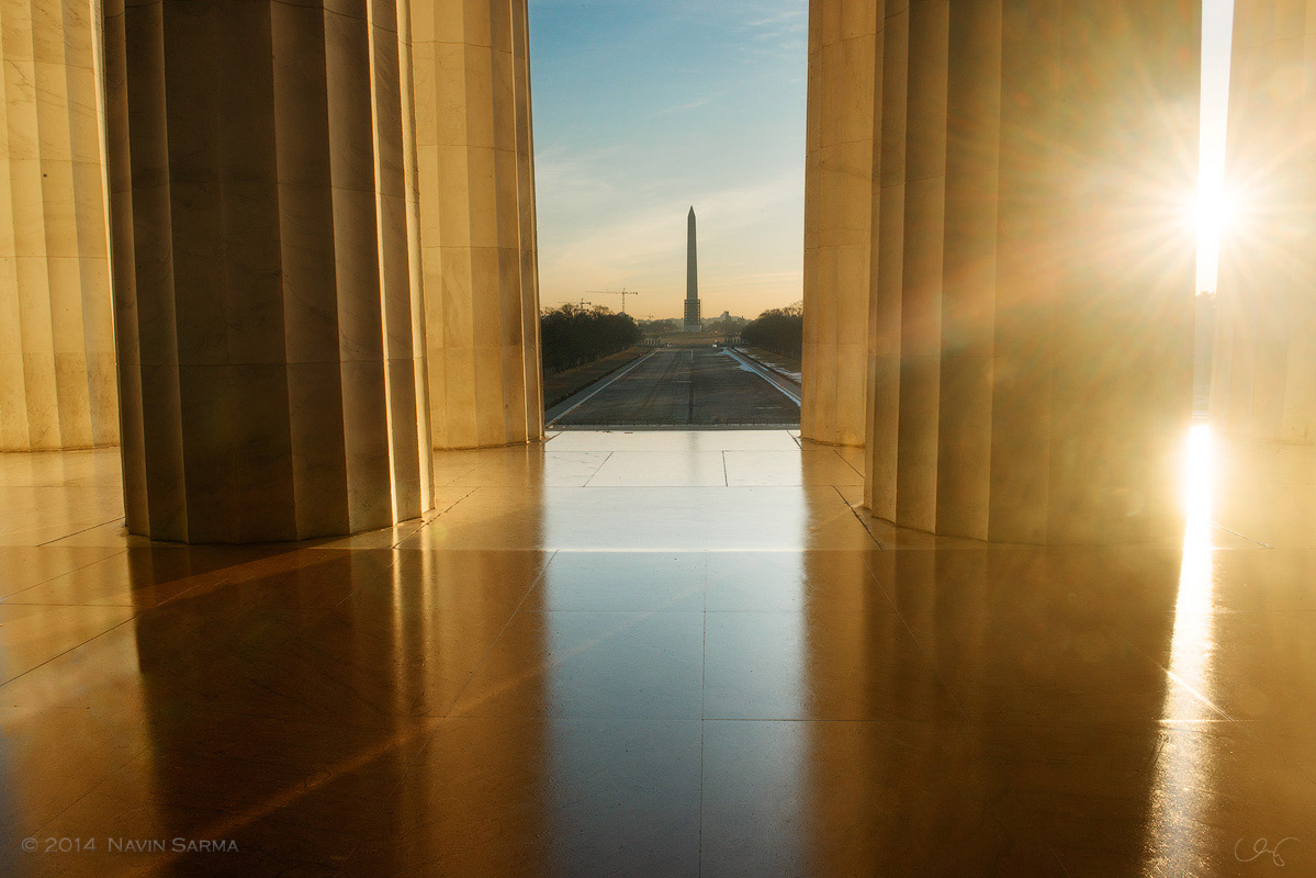 Sunlight streams into the Lincoln Memorial.