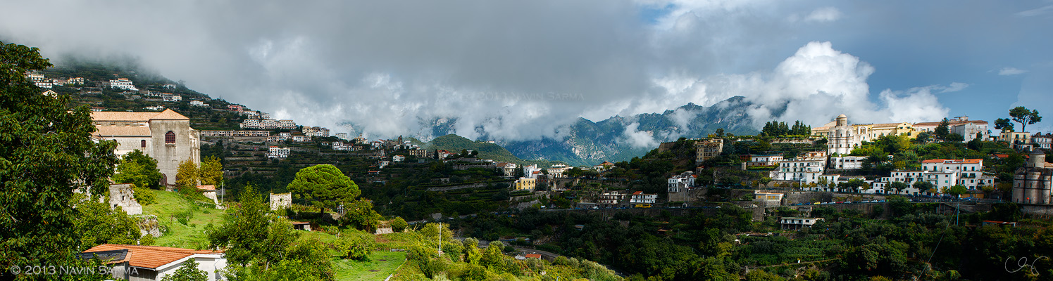 Clouds part over the high cottages of the Amalfi Coast (this is a panoramic stitch of ~10 36 megapixel images for increased detail)