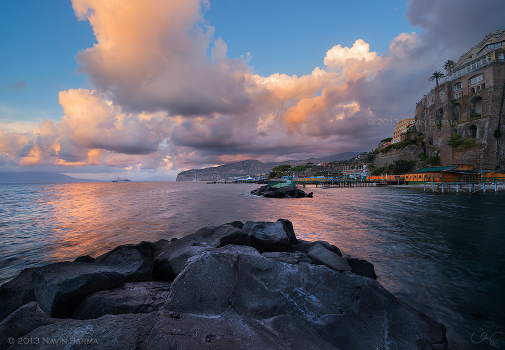 A beautiful cloudy sunset at the piers of Sorrento, Amalfi Coast, Italy