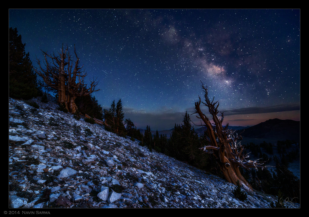 Twilight at White Mountains reveals the milky way along with dark blue hues just after sunset.
