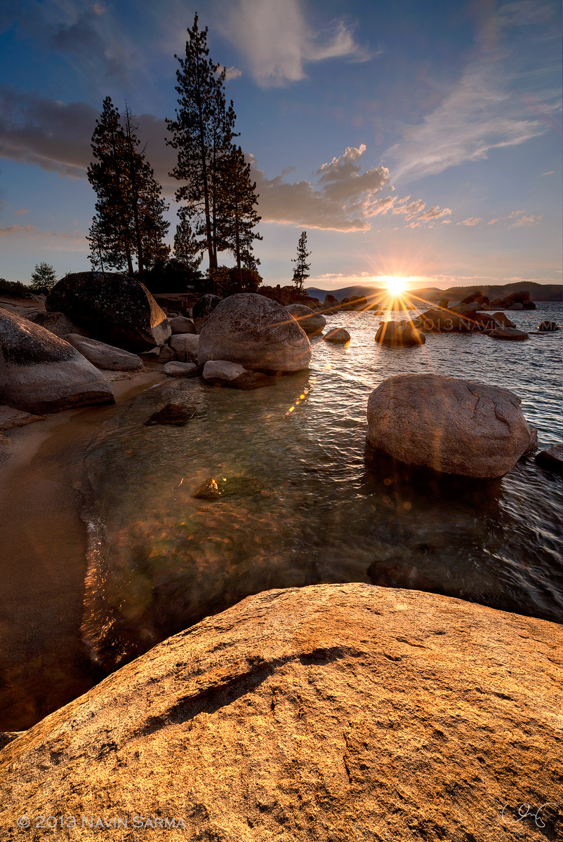 Sunset at Sandy Point Harbor in Lake Tahoe