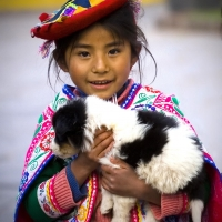 Cusco Peru Girl Dog