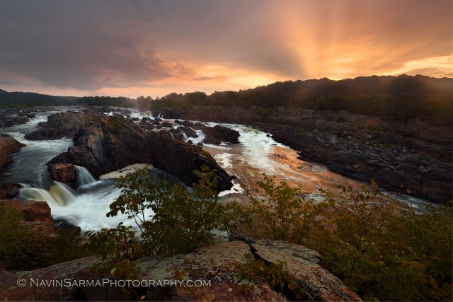 A golden pink sunrise at Great Falls National Park, VA