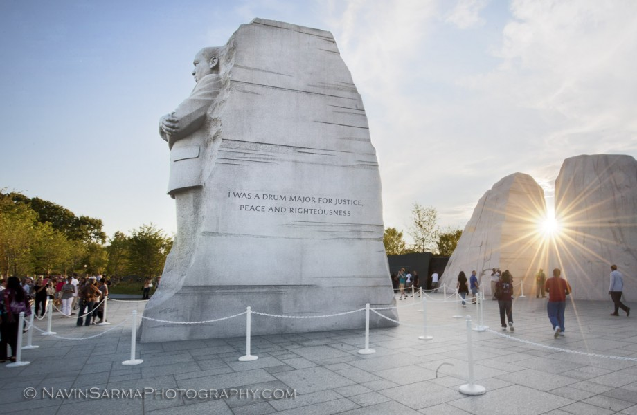 Sunset at the Martin Luther King Memorial in Washington DC.