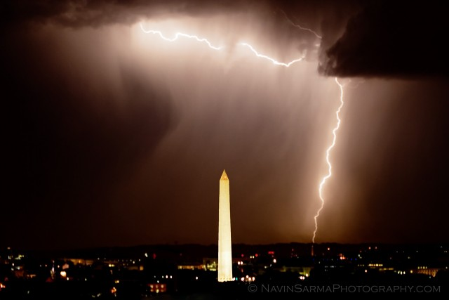Washington DC Monument Lightning