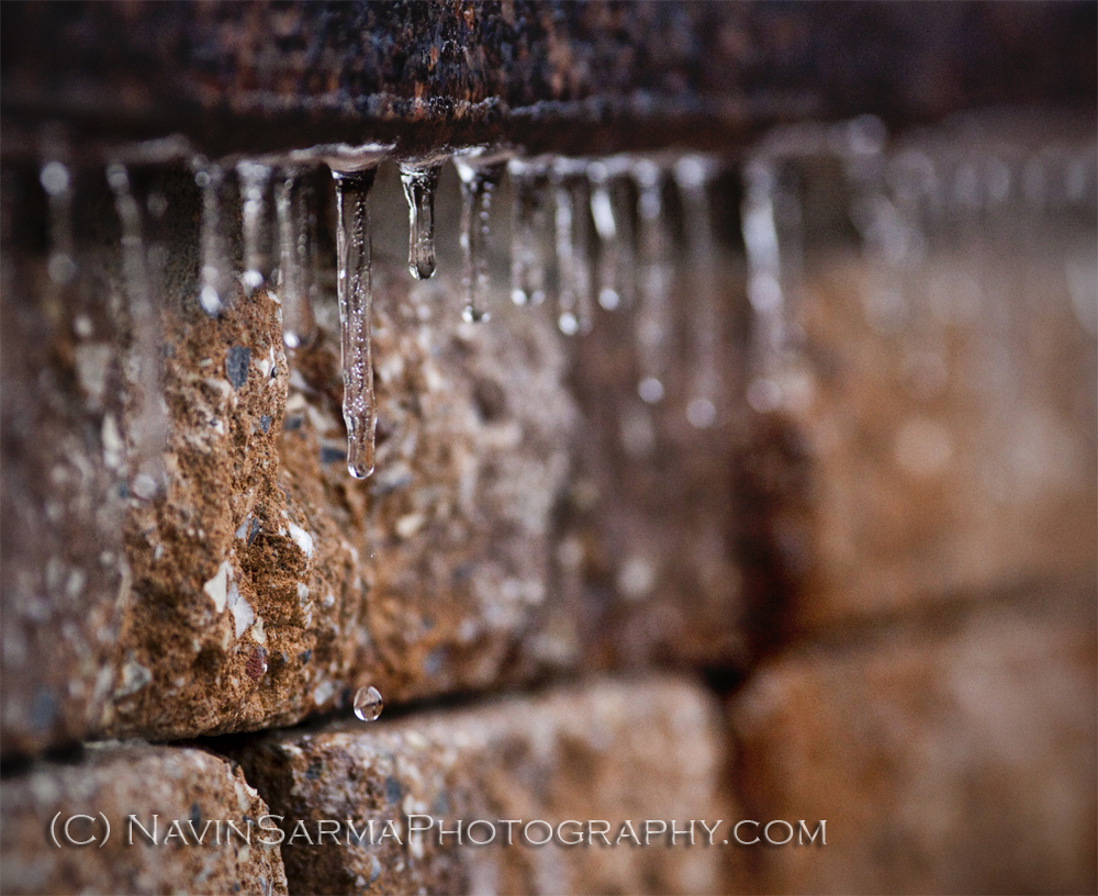 A drip of water melts from an icicle after a Washington DC ice storm