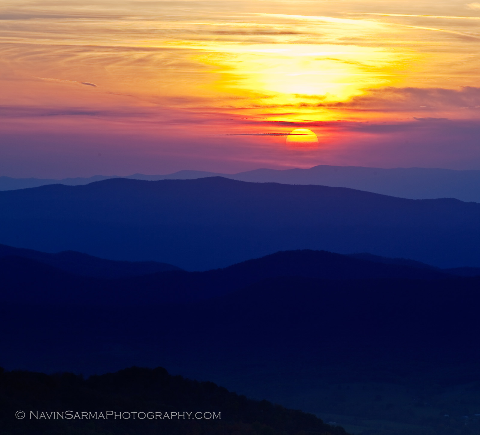 Shenandoah Sunset Mountains Sun Fall