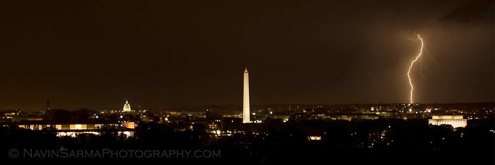 Washington Dc Skyline Lightning
