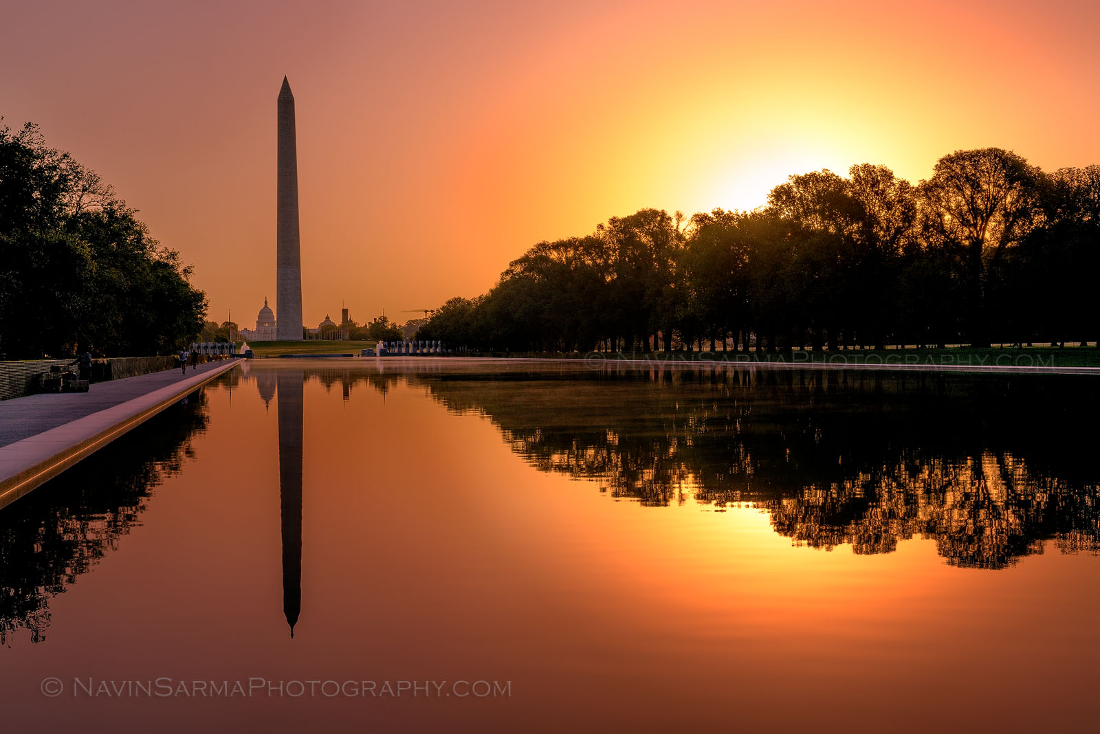 Washington Dc Monument Reflecting Pool Sunrise